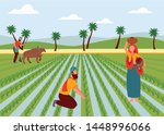 indian male and female farmers... | Shutterstock .eps vector #1448996066