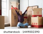happy young woman sitting in...   Shutterstock . vector #1449002390