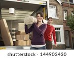 portrait of happy young couple...   Shutterstock . vector #144903430