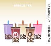 bubble tea or pearl milk tea... | Shutterstock .eps vector #1449089639