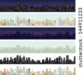 wide cityscape at different... | Shutterstock .eps vector #144911233