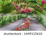 A rose arbor creates a tunnel at Point Defiance Park in Tacoma, Washington.
