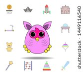 cartoon furby toy colored icon. ...