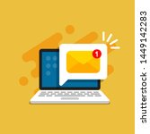 email message on screen in... | Shutterstock .eps vector #1449142283