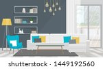 living room with white sofa and ... | Shutterstock .eps vector #1449192560