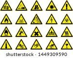 business safety signs yellow... | Shutterstock . vector #1449309590