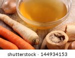 bowl with beef broth  boiled... | Shutterstock . vector #144934153