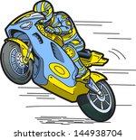 speeding motorcycle racer | Shutterstock .eps vector #144938704