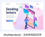 young man creates new email... | Shutterstock .eps vector #1449400259