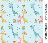 cute cartoon giraffe family in... | Shutterstock .eps vector #1449425339