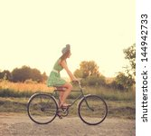 Beautiful Girl On A Vintage Bike