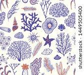 Sea Set Seamless Pattern With...