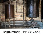 Rusty Boiler Room Pipes. Old...