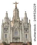 Small photo of Temple Sacred Heart of Jesus on Tibidabo in Barcelona (Spain) isolated on white background