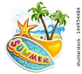 summer beach with palm trees | Shutterstock . vector #144954484