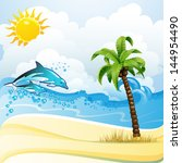 beach with palm tree and... | Shutterstock . vector #144954490