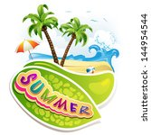 summer beach with palm trees... | Shutterstock . vector #144954544