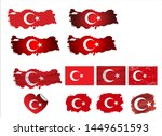 turkey map with flag. vector. | Shutterstock .eps vector #1449651593