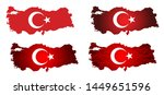 turkey map with flag. vector. | Shutterstock .eps vector #1449651596