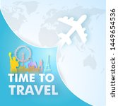 paper cut style travel trip... | Shutterstock .eps vector #1449654536