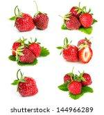 set of fresh strawberries... | Shutterstock . vector #144966289