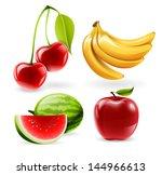 vector fruit set   watermelon ... | Shutterstock .eps vector #144966613