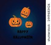 happy halloween. pumpkins faces....   Shutterstock .eps vector #1449683426