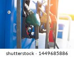 fuel pump at gas station with...   Shutterstock . vector #1449685886