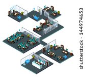 3d isometric office with... | Shutterstock .eps vector #144974653