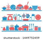 kitchen shelves with utensils... | Shutterstock .eps vector #1449752459