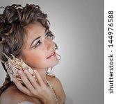young beautiful bride woman in... | Shutterstock . vector #144976588