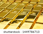 Stock photo gold bars in a row financial concepts 1449786713