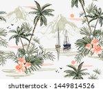 beautiful tropical vintage...   Shutterstock .eps vector #1449814526