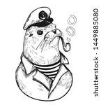 sea lionl with a smoking pipe... | Shutterstock .eps vector #1449885080