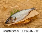 Stock photo salted herring over the wooden board with dill 1449887849