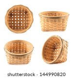 Wooden wicker basket isolated over white background, set of four foreshortening - stock photo