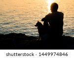 Stock photo silhouette of person and dog sitting together at seaside and looking at the sunrise 1449974846