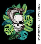 Skull  Cobra Snake And Palm...