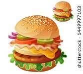 hamburger. food icon isolated... | Shutterstock . vector #1449997103