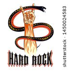rock hand sign with aggressive... | Shutterstock .eps vector #1450024583
