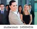 cheerful businesswoman in... | Shutterstock . vector #145004536