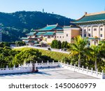 Beautiful architecture building exterior of national palace museum in taipei taiwan is the popular place for travel and sightseeing tour