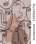 face drawn in one continuous... | Shutterstock .eps vector #1450061726
