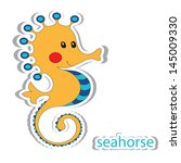 Cartoon Seahorse Isolated On...