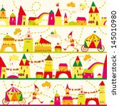seamless pattern with houses... | Shutterstock .eps vector #145010980