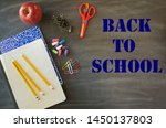 Small photo of Back to school paper pencil apple erasure