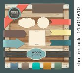 vintage labels with wood... | Shutterstock .eps vector #145014610