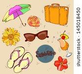 summer vacation  beach   vector ... | Shutterstock .eps vector #145018450