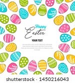 happy easter   greeting card.... | Shutterstock .eps vector #1450216043