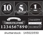 collection of anniversary... | Shutterstock .eps vector #145023550